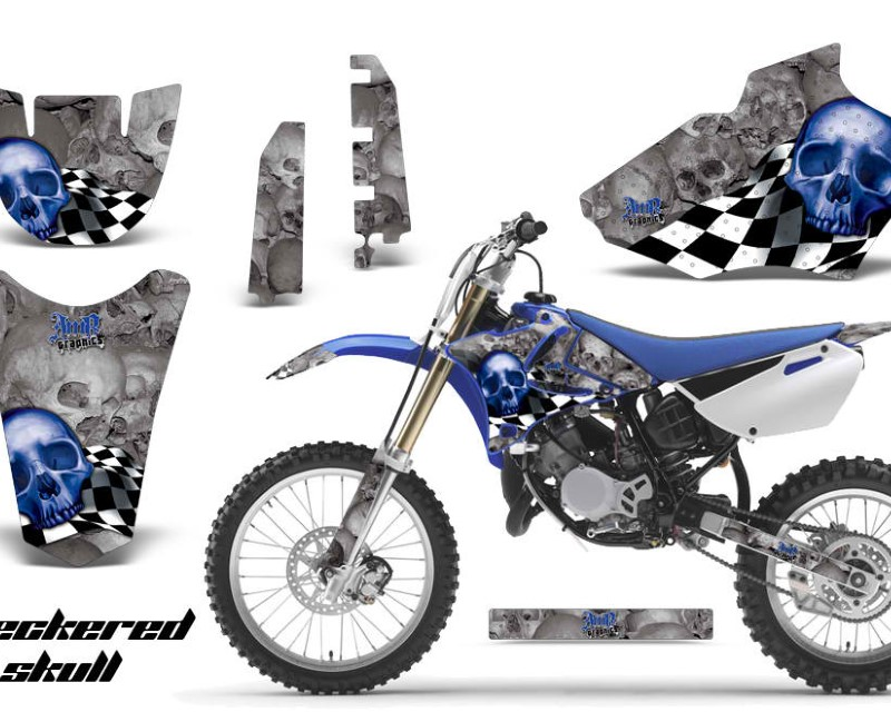 AMR Racing Dirt Bike Decal Graphics Kit MX Sticker Wrap For Yamaha YZ85 2002-2014áCHECKERED BLUE SILVER