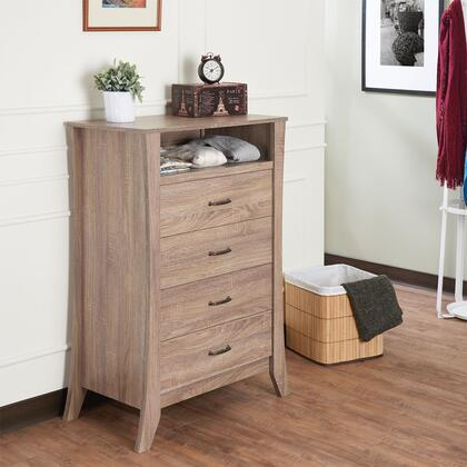 BM184761 Wooden Chest with Four Drawers & One Open Shelf  Natural