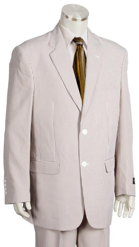 Mens Pinstripe Quad DOne Chest Pocket Brown Zoot Suit