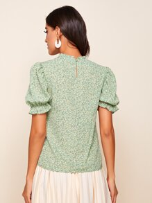 Frill Neck Puff Sleeve Ditsy Floral Top