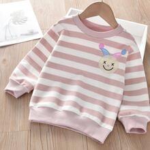 Toddler Girls Cartoon Embroidery Striped Sweatshirt