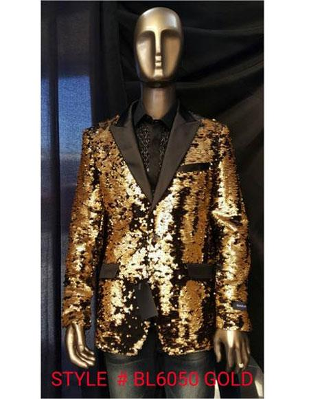 Mens Fashion Shiny Sequin Paisley Blazer Sport coat Tuxedo Jacket Gold