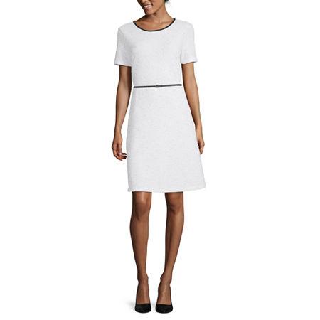Liz Claiborne Short Sleeve Fit & Flare Dress, X-large , White
