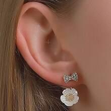 Bow & Flower Design Earrings