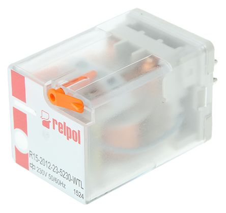 Relpol , 230V ac Coil Non-Latching Relay DPDT, 10A Switching Current Plug In