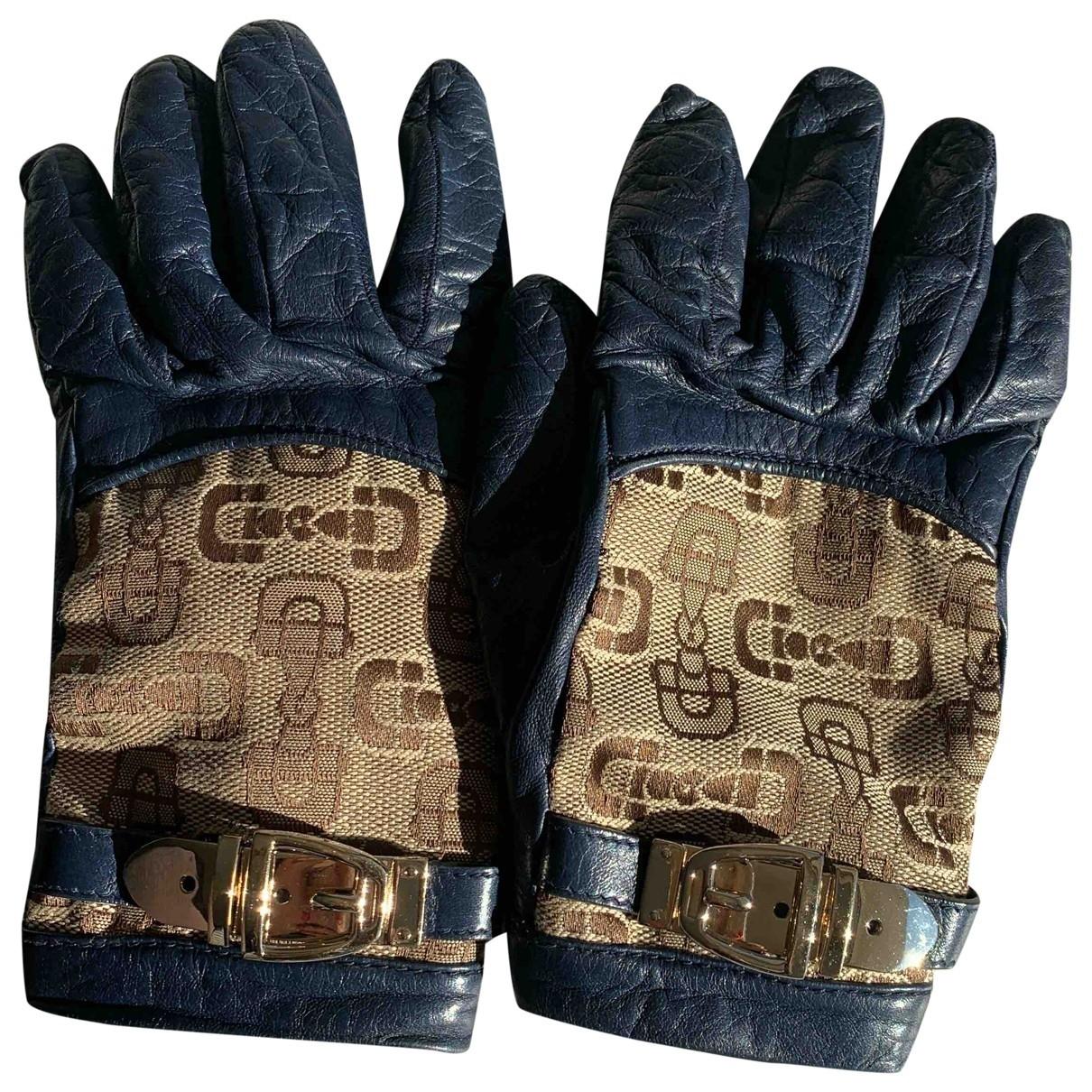 Gucci \N Handschuhe in  Blau Leder