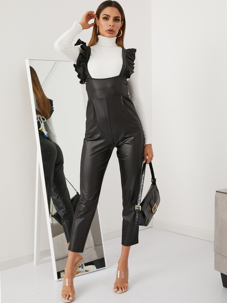 YOINS Black Ruffle Trim Leather Jumpsuit