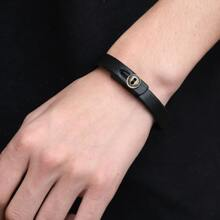 Men Button Detail Minimalist Bracelet