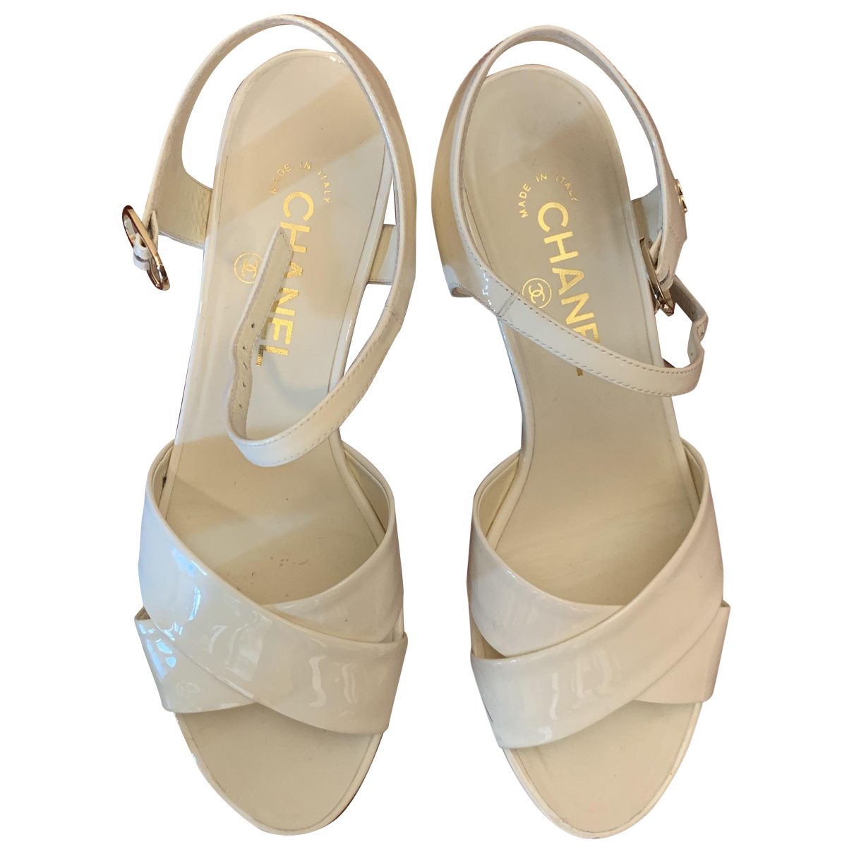 Chanel \N White Patent leather Sandals for Women 38 EU