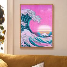 Pintura de pared con estampado de onda de oceano sin marco