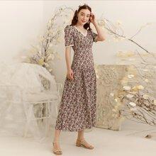 Ditsy Floral Lace Trim Long Dress