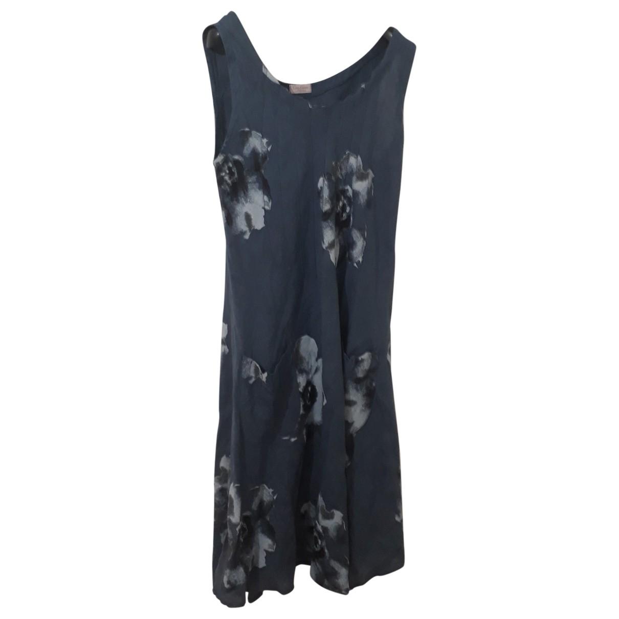 Non Signe / Unsigned \N Kleid in  Blau Leinen