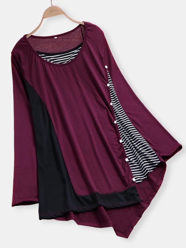 Patchwork Striped Button Irregular Hem Long Sleeve Plus Size Blouse