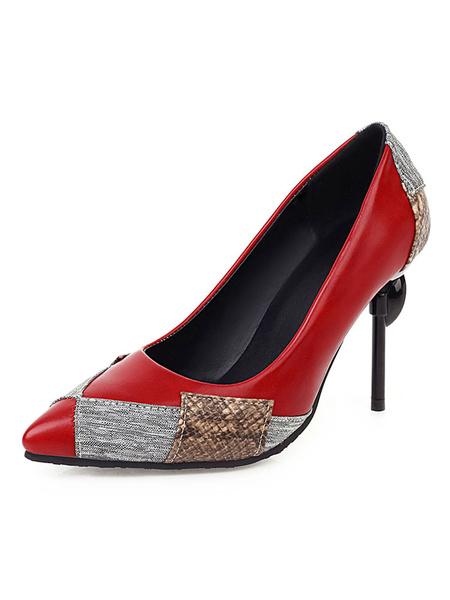 Milanoo Women's High Heels Pointed Toe Color Block Stiletto Heel Plus Size Pumps