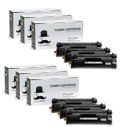 Compatible HP 26A CF226A Black LaserJet Toner Cartridge by Moustache, 6 Pack
