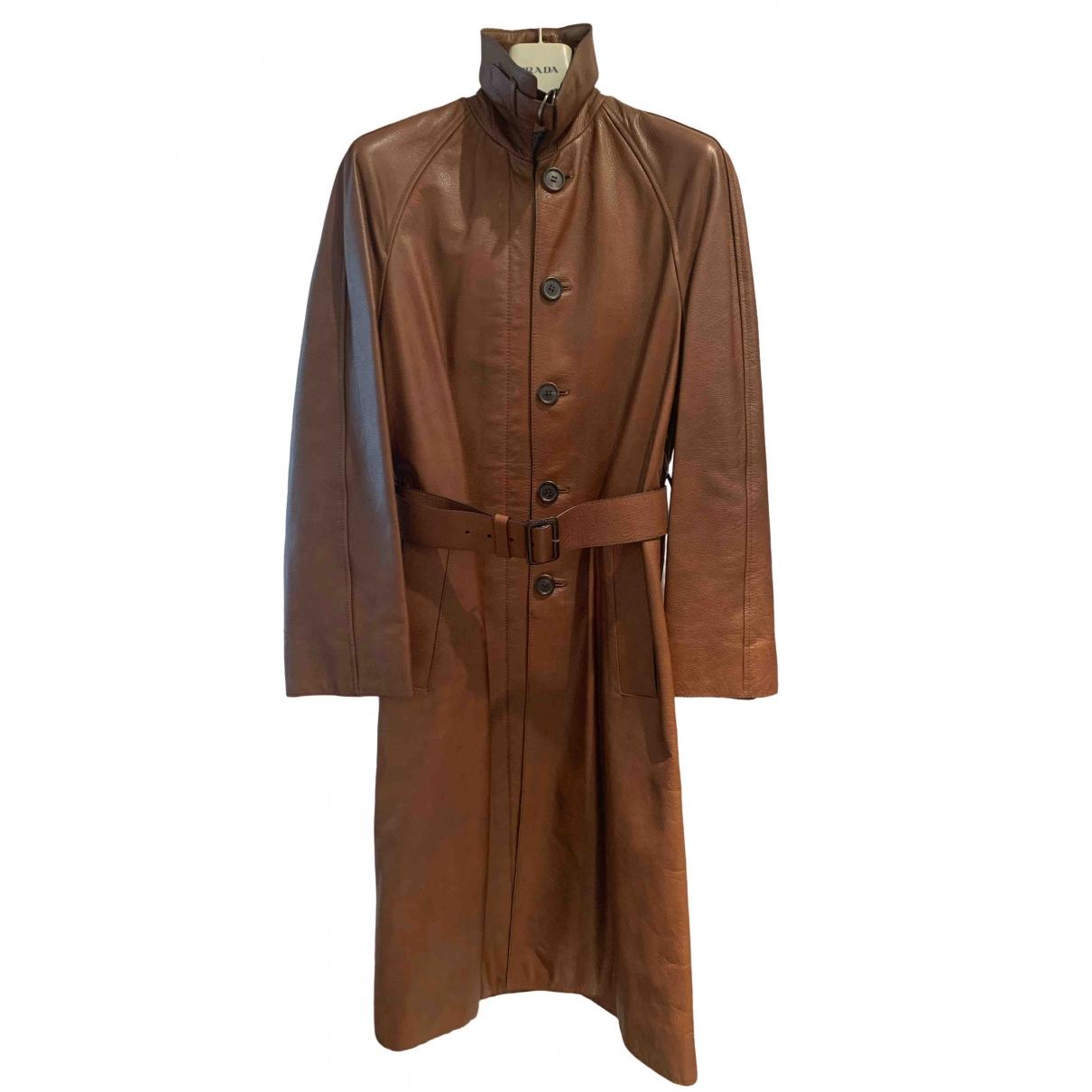 Prada \N Brown Leather coat for Women 40 IT