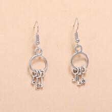 Key Charm Drop Earrings