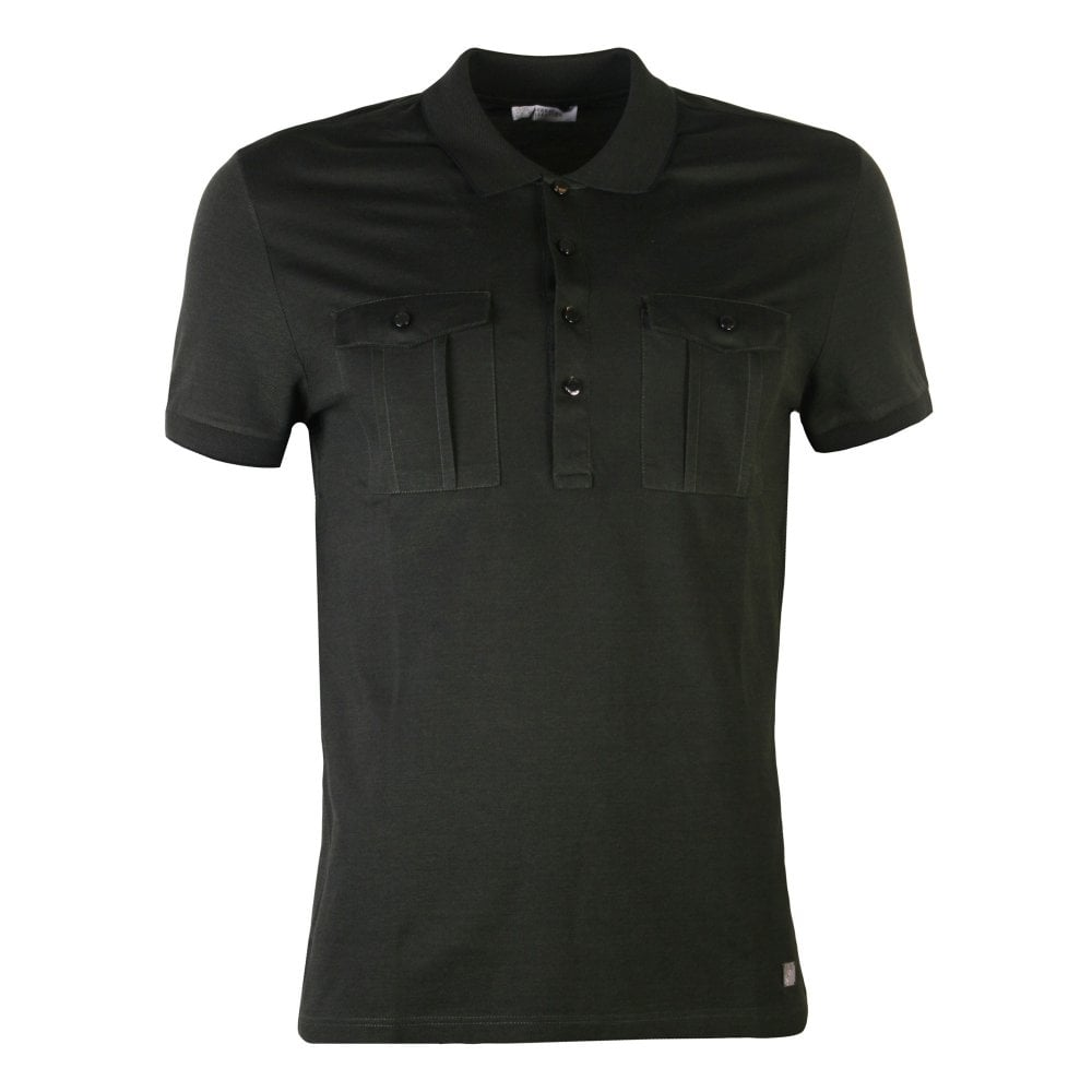 Versace Collection Double Pocket Polo Shirt Colour: DARK GREEN, Size: EXTRA EXTRA LARGE
