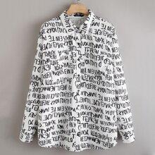 Hemd mit Buchstaben Muster und Knopfen vorn