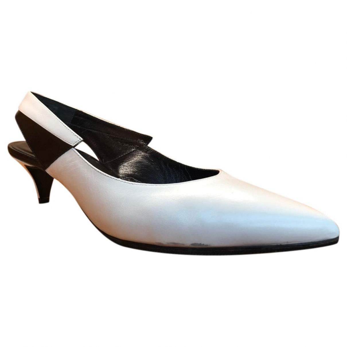 Celine \N White Leather Heels for Women 39.5 EU