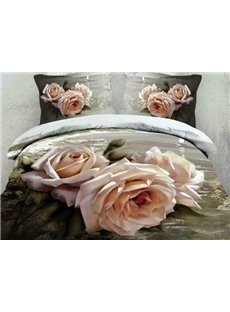 3D Oil-painting Style Roses Printed Cotton 4-Piece Bedding Sets/Duvet Cover