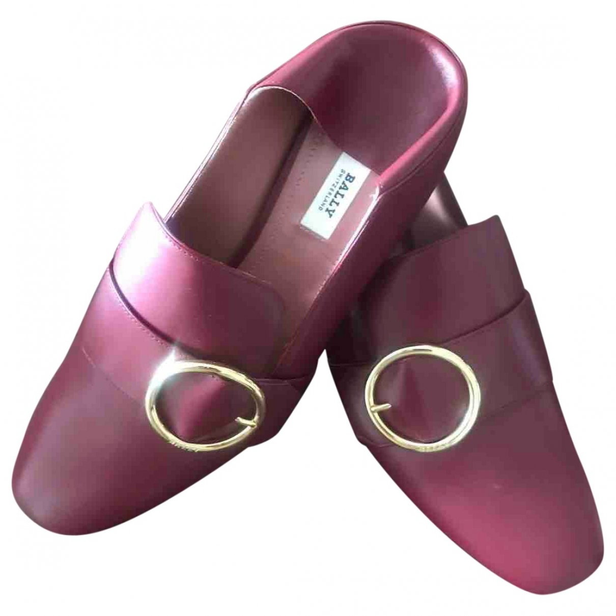 Bally \N Burgundy Leather Flats for Women 38 EU
