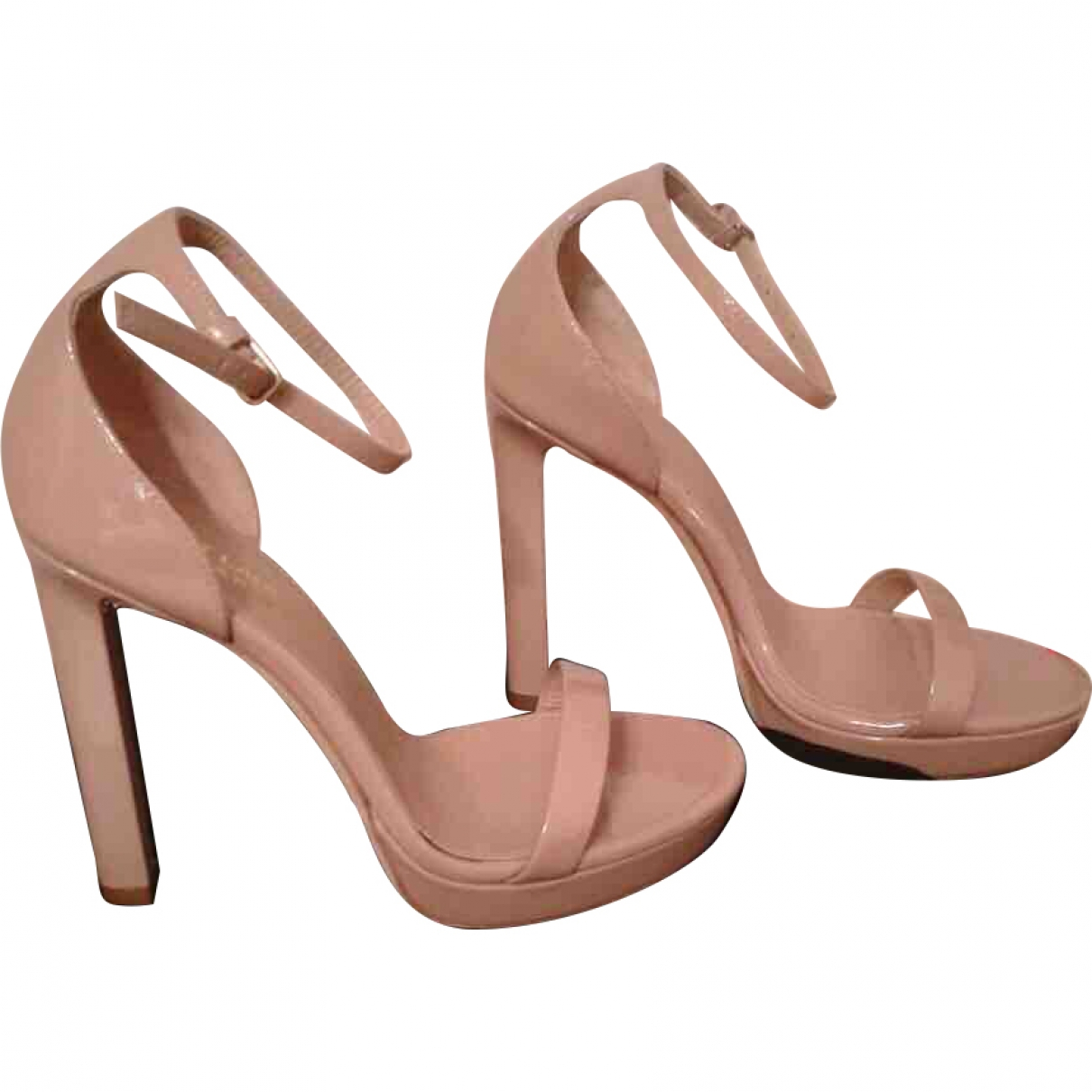 Saint Laurent Hall Beige Patent leather Sandals for Women 38 EU