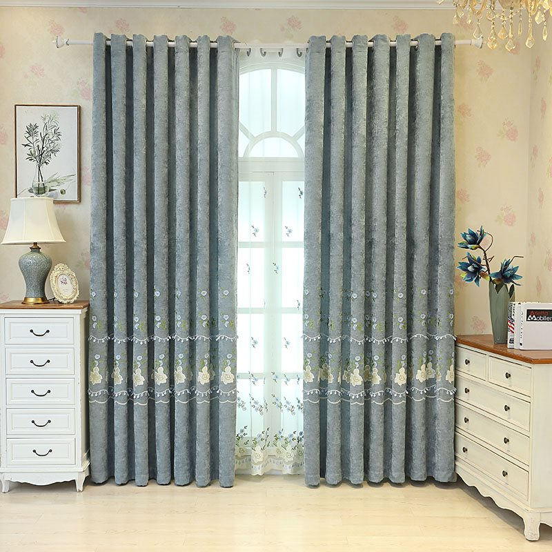 Elegant Princess Floral Blackout Custom Curtain For Living Room and Bedroom