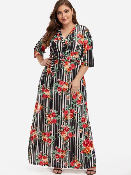 Yoins Plus Size Self-tie Design Floral Print & Stripe Maxi Dress