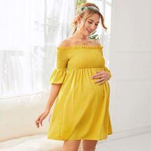 Maternidad vestido fruncido ribete fruncido de hombros descubiertos