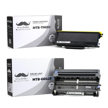 Compatible Brother MFC-8480DN Toner and Drum Cartridges Combo by Moustache, High Yield