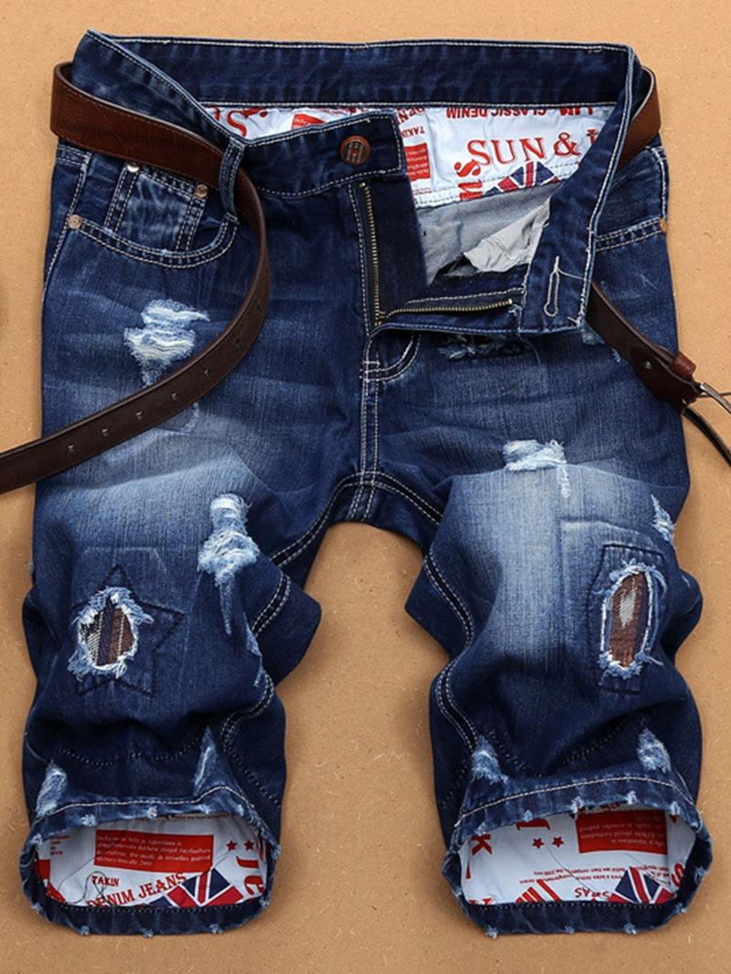 Ericdress Holes Denim Slim Men's Shorts