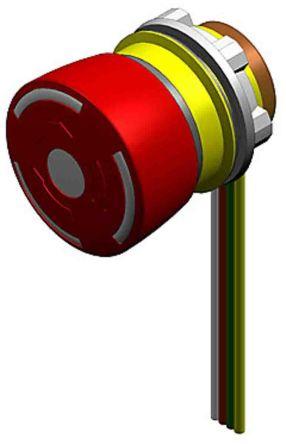 EAO Panel Mount Mushroom Head E-Stop - 1NC/1NO, Twist to Reset, 32mm, 22.3mm, Red