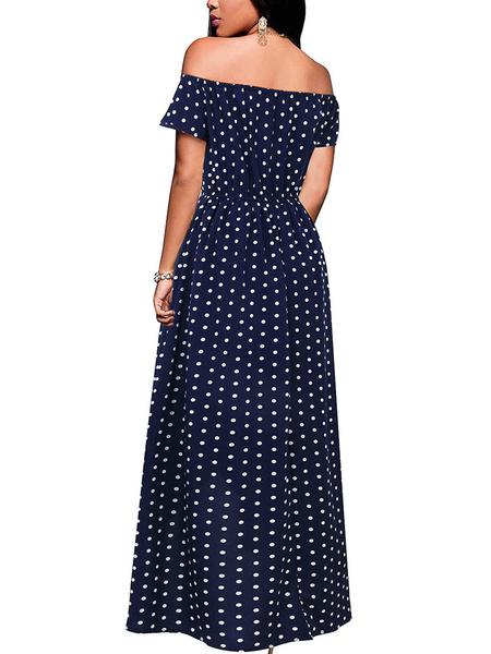 Milanoo Maxi Dresses Short Sleeves Deep Blue Polka Dot Off-The-Shoulder Layered High Low Long Dress