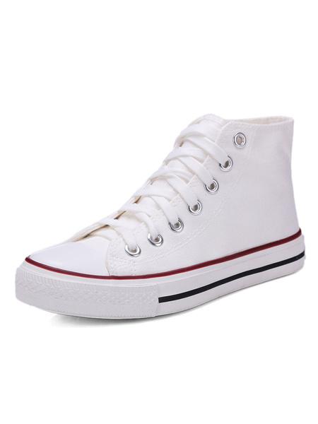 Milanoo Zapatos de lona de las mujeres Red Round Toe Lace Up High Top Sneakers Zapatos casuales