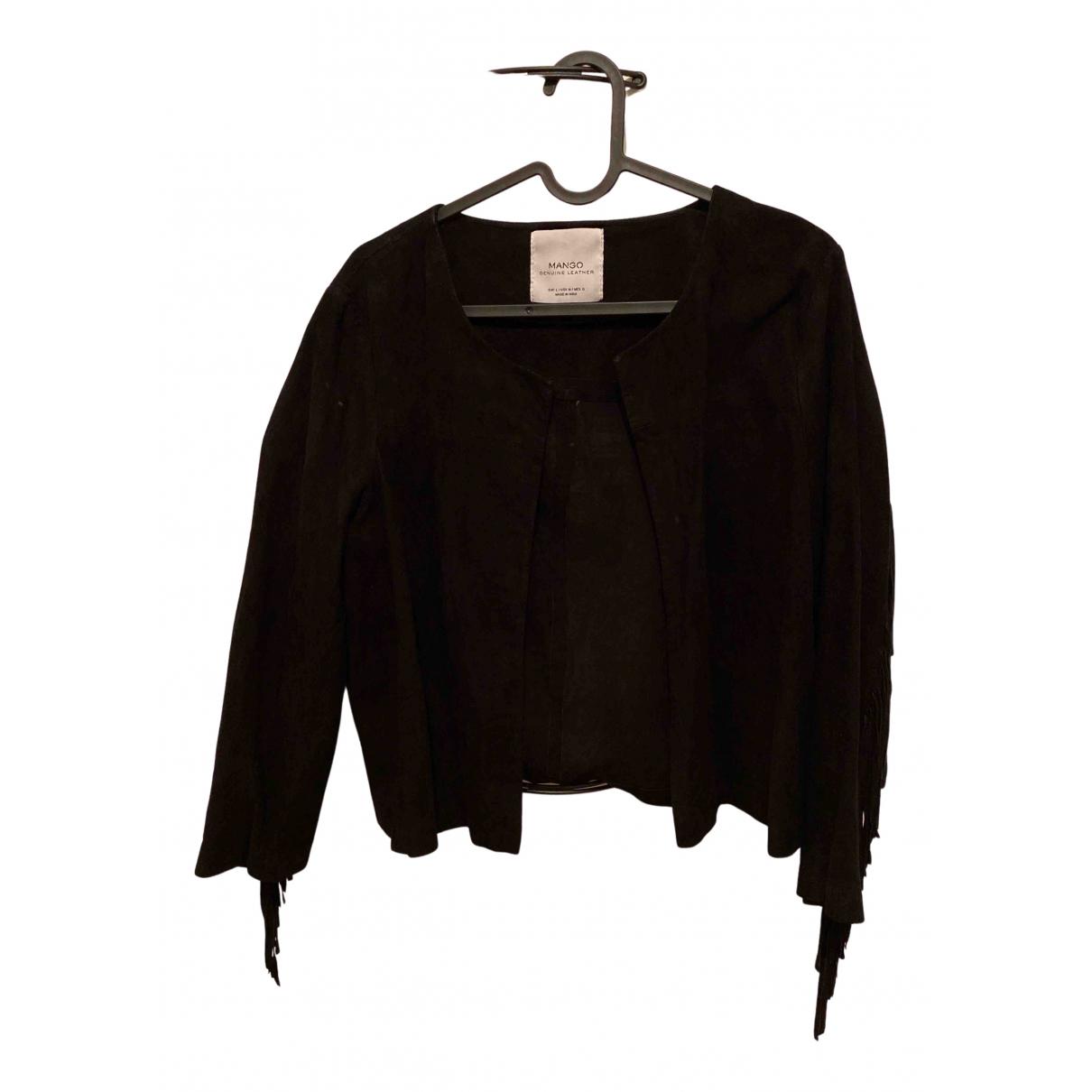 Mango N Black Leather jacket for Women 6 US