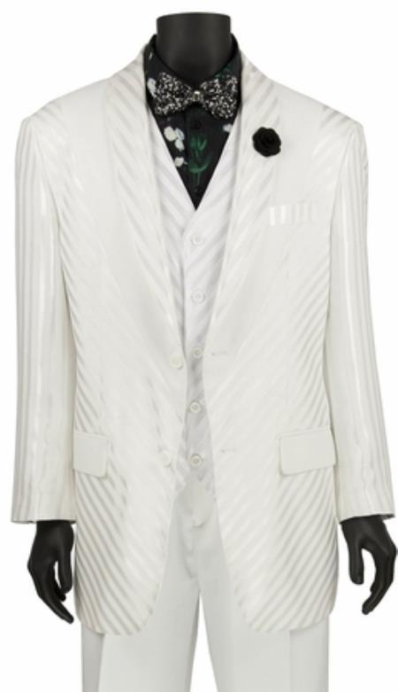 Mens Shiny Stripe 3 Piece Fashion Suit White