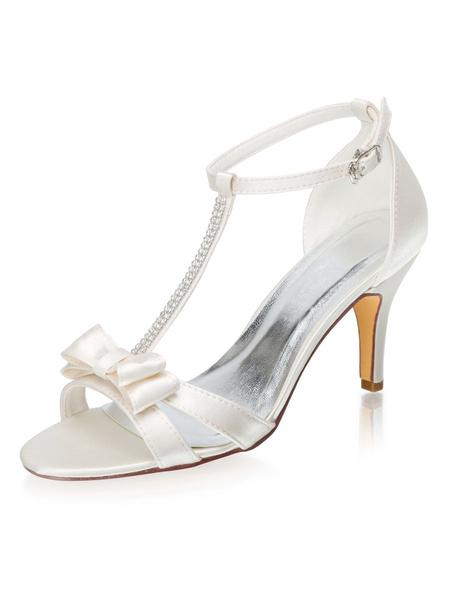Milanoo Zapatos de novia de saten Zapatos de Fiesta de tacon de stiletto Zapatos marfil  Zapatos de boda de puntera abierta 8cm con lazo