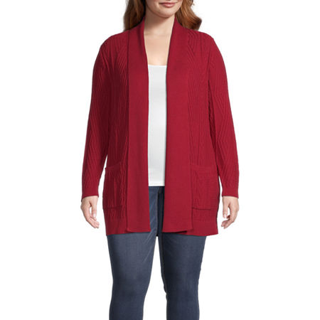 St. John's Bay-Plus Womens Long Sleeve Open Front Cardigan, 3x , Red