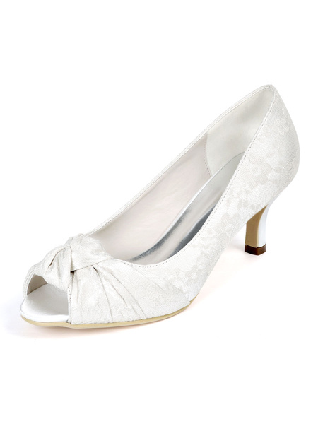 Milanoo Womens Wedding Shoes Ivory Lace Peep Toe Kitten Heel Bridal Shoes