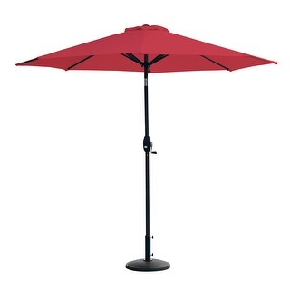 Amada 9 Ft Aluminum Patio Umbrella with Resin Base Included (Red)
