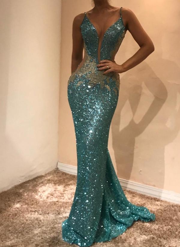 Glamorous Sleeveless Sequins Evening Dress | Mermaid Prom Dress on Sale BA9598