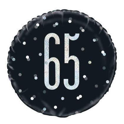 Ballon rond en aluminum noir et argent Anniversaire Glitz, 18, 1CT - 65 ans