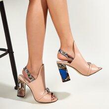 Chain Decor Slingback Chunky Heeled Sandals