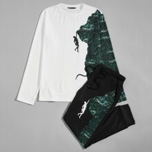 T-Shirt und Jogginghose Set mit Figur und Berg Muster