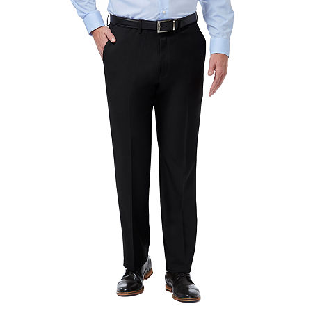 Haggar Premium Comfort Dress Pant Classic Fit Flat Front, 42 32, Black