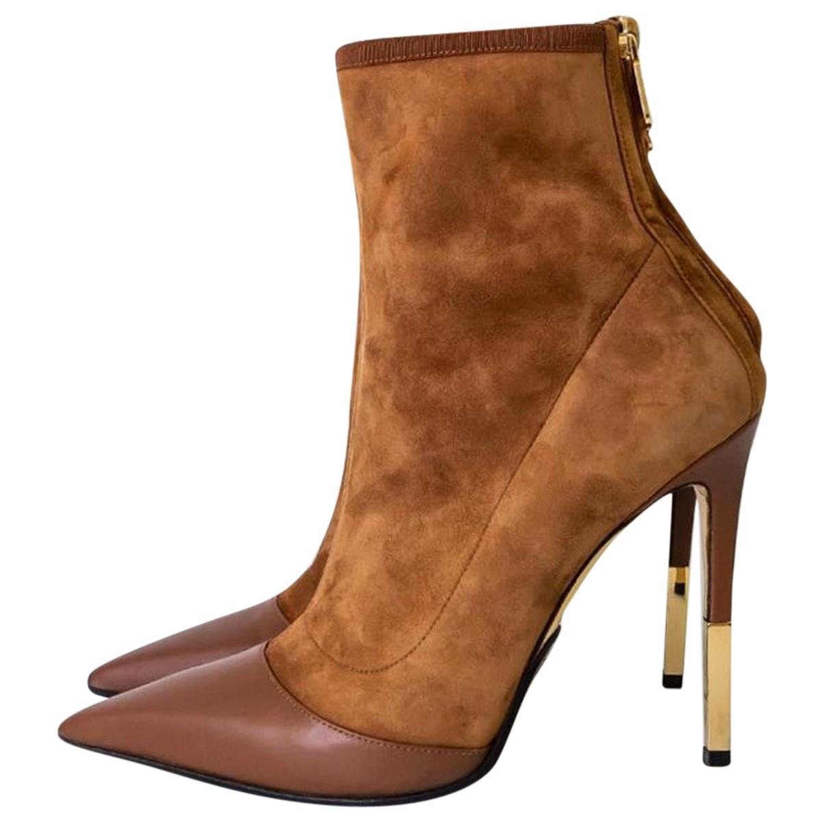 Balmain N Brown Suede Ankle boots for Women 39 EU