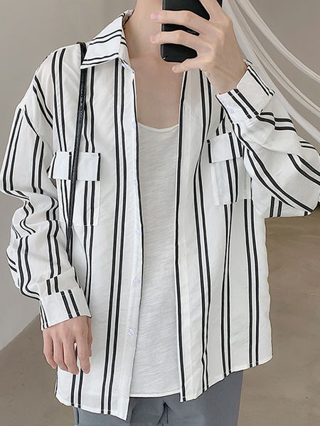 Yoins INCERUN Men Vintage Striped Long Sleeve Tops Loose Casual Shirt