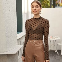 Mock-neck All Over Star Flocked Mesh Top Without Bra