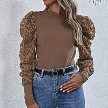 Stereo Flowers Mesh Panel Fitted Top